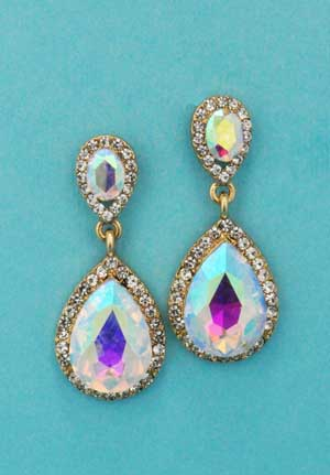 "Aurora Borealis/Gold Two Linked Pear Stone 1.5"" Post Earring"