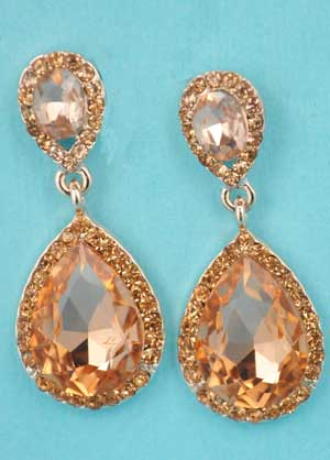 "Light Peach/Rose Gold Two Linked Pear Stone 1.5"" Post Earring"