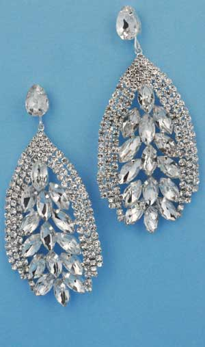 Clear/Silver Center Marquise Site Round Stone Earring