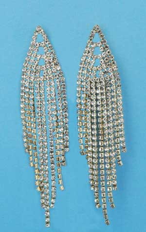 """Clear/Gold Small Round Stone Multiple Dancing Rows 2.5"""" Post Earring"""