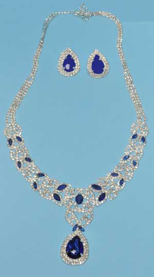 Sapphire/Clear Silver Leave Shape Round Stone Set