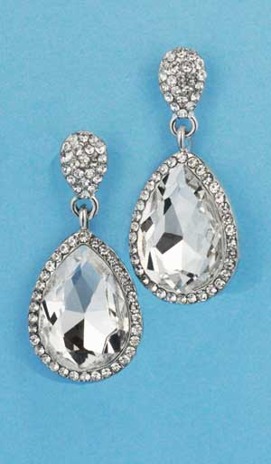 """Clear/Silver Top Small Bottom Medium Pear Stone 1.5"""" Post Earring"""