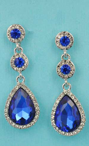 """Sapphire/Clear Silver Round/Pear Linked Stone 1"""" Post Earring"""