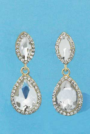"Clear/Gold Top Marquise/Bottom Pear Shape 1.5"" Post Earring"