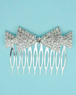 Clear Silver Round Stone Double Bow Comb