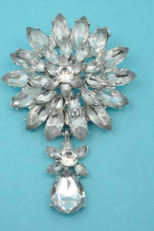 Clear/Silver Marquise Stone Big Flower Shape Pin
