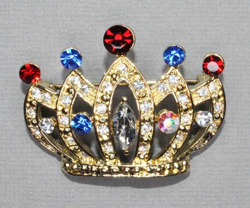 Multiple Colors/Gold Crown Pin