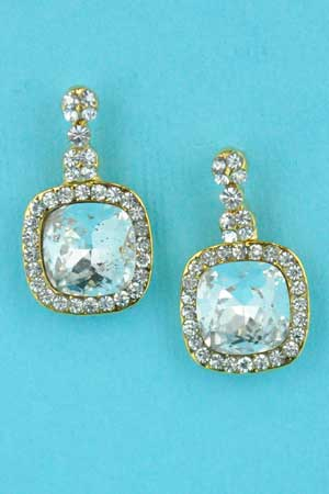 """Clear/Gold Square/Round Stone 0.5"""" Earring"""