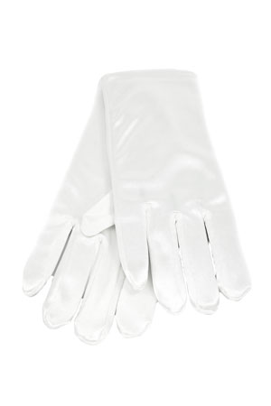 "Satin Wrist Gloves 2"" White"