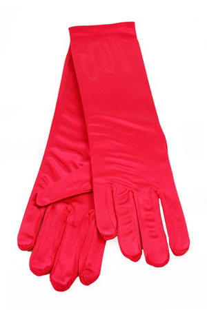 "Satin Gloves 8"" Red"