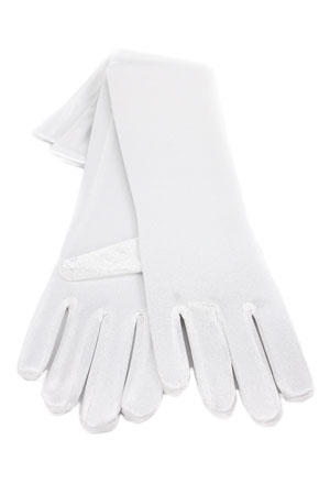 "Satin Gloves 12"" White"