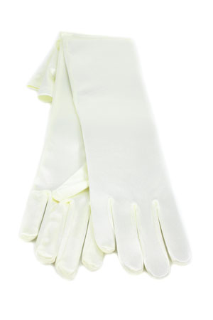 "Satin Gloves 12"" Ivory"