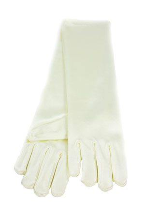 "Satin Long Gloves 6"" 3-6 Child's Ivory"