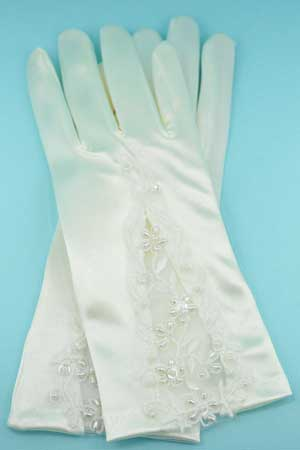 """Pearl/Ivory Leaf/Flower Embroidery 2"""" Gloves"""