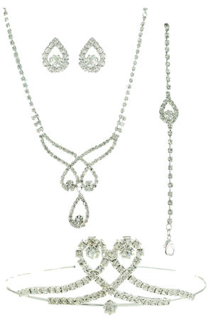 Clear Silver 4Piece Tiara Set