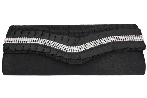 Black Ruffle and 4 Line Crystal Clutch