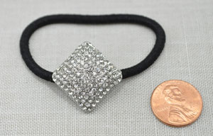 Clear/Silver Square Pave Ponytail Holder