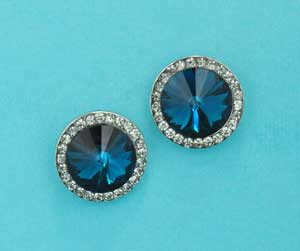 Blue Zircon/Clear Silver Medium Single Round Stone Post Earring