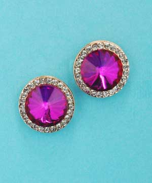 Fuchsia/Clear Rose Gold Medium Single Round Stone Post Earring