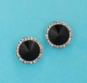 Jet/Clear Silver Medium Single Round Stone Post Earring