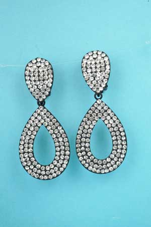 """Clear/Black Clip Two Pieces Oval Stone 2.5"""" Earring"""