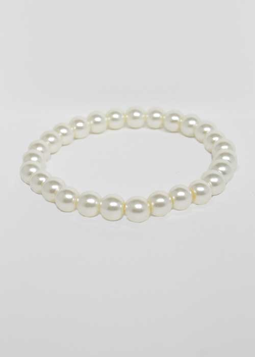Pearl/1 Line 8MM Glass Stretch Bracelet