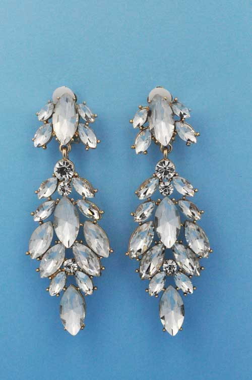 """Clear/Gold Clip Marquise Stone 3"""" Earring"""