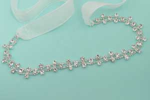 Clear Double Stone Thin Rhinestone Sash