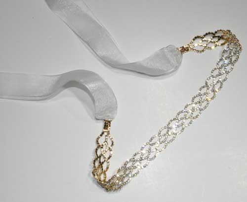 Clear/Gold Small Round Stone Ribbon Belt
