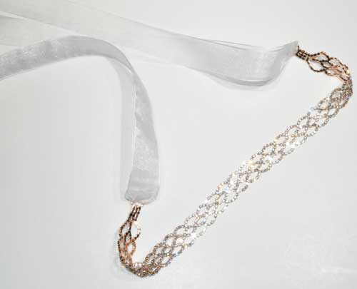 Clear/Rose Gold Small Round Stone Ribbon Belt