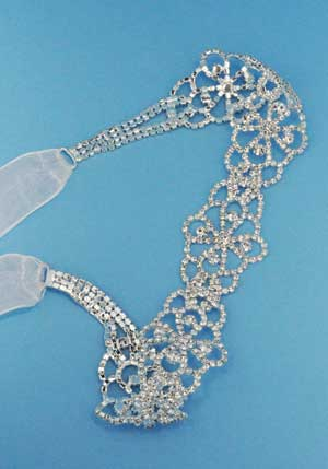 Clear/Silver Small Round Stone Flower Shape Belt