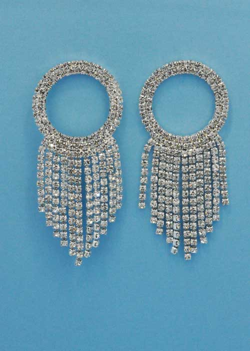 "Clear/Silver Top Round Multiple Dangle Row 2.5"" Post Earring"