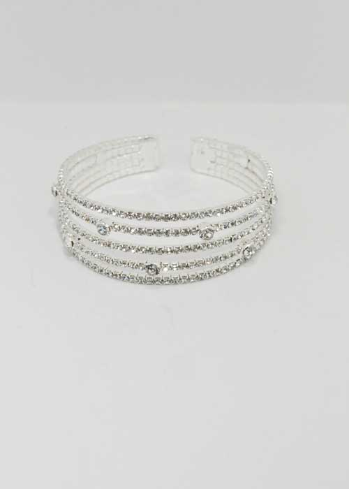 Clear/Silver Five Rows Small Round Stone Bracelet