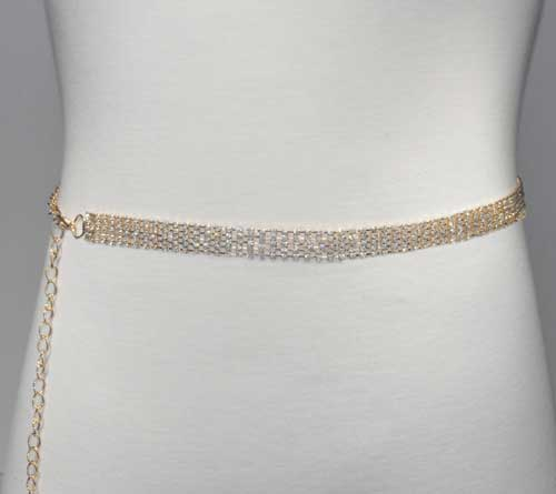Clear/Gold Five Rows Small Round Stone Belt