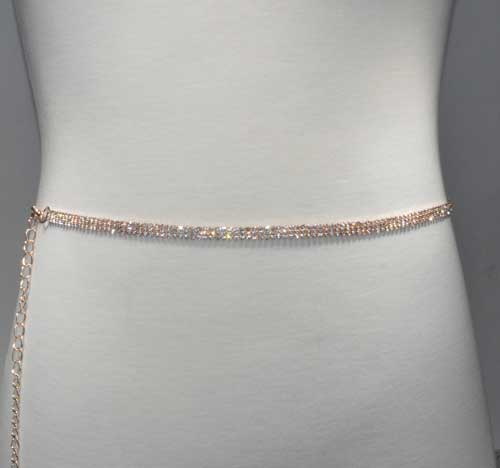 Clear/Rose Gold Thin Belt 3 Rows Chain