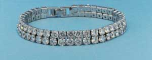 Cubic Zirconia/Silver 2 Lines Small Round Stone Bracelet