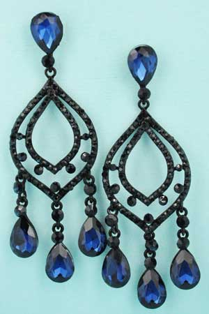 "Montana Navy/Black Open Erring Dancing Pear Stone 2.8"" Earring"