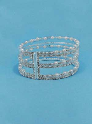 Pearl/Clear Silver Six Row Small Round Stone Bracelet