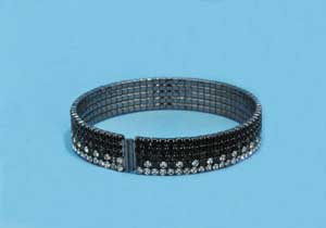 Black Diamond/Clear Hematite Five Row Small Round Stone Bracelet