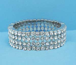 Clear/Silver Medium Round Stone Four Row Bracelet