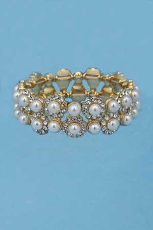 Pearl/Clear Gold Two Row Round Stone Bracelet