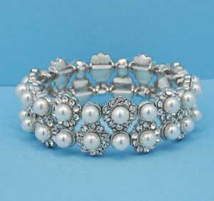 Pearl/Clear Two Row Round Stone Bracelet