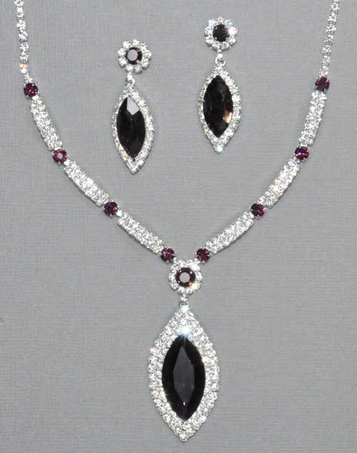 Amethyst/Silver Marquise Shape Necklace Set