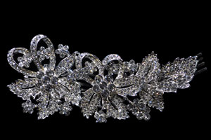 Crystal/Silver Flower + Leaves Hair Comb