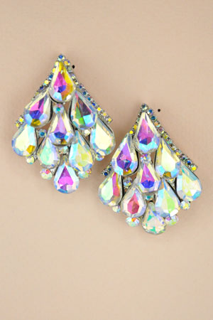 AB  Silver Pearshape Stone Cluster Post Earring