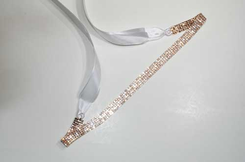 Clear/Rose Gold Five Rows Small Round Stone Belt