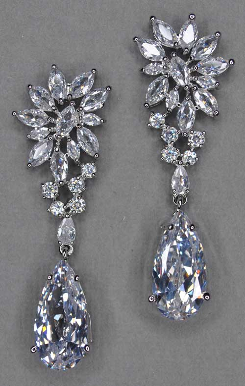 Cubic Zirconia/Silver Top Flower Shape Dangle Teardrop Earring