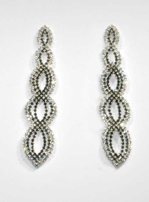 Jet/Clear Silver Five Marquise Shape Post Earring