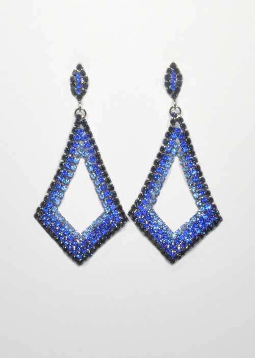 "Sapphire/Montana Navy Hematite Flat Diamond Shape 2.5"" Post Earring"