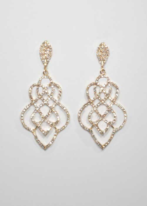 Clear/Gold Braid Shape Small Round Stone Earring